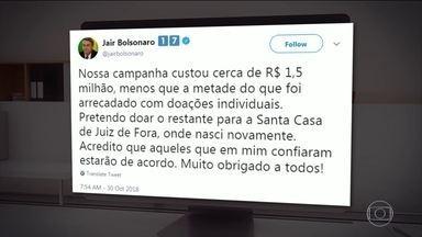 Bolsonaro diz que pretende doar quantia para Santa Casa de Misericórdia, em Juiz de Fora - No post nas redes sociais ele diz que a campanha custou 1,5 milhão de reais. E que pretende doar o restante para a Santa Casa.