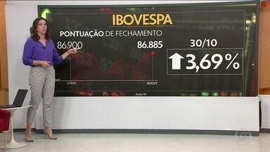 Mercado financeiro tem dia animado - O índice Bovespa subiu 3,69%. O dólar fechou cotado a R$ 3,69.