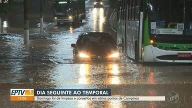 Conserto dos estragos causados pela chuva marcam o domingo, em Campinas - Temporal de sábado (3) alagou e causou danos para várias regiões do município.