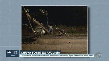 Motociclista morre após atingir poste caído no meio da estrada em Paulínia - Corpo foi levado para o Paraná. Acidente aconteceu no final de semana.
