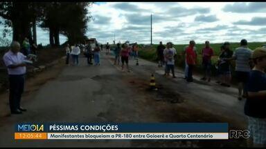 D.E.R diz que trecho da PR - 180 interditado por protesto está no planejamento de reforma - O Departamento de Estradas de Rodagens disse ainda que o processo de licitação está em andamento.