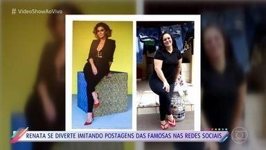 Renata Néia se diverte imitando postagens de famosas nas redes sociais - Ela começou a trocar mensagens com Giovanna Antonelli e realizou sonho de conhecer a atriz pessoalmente nos Estúdios Globo