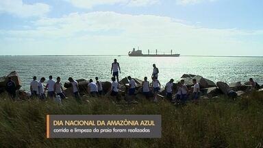 No Dia da Amazônia Azul, Marinha realiza ação social em Rio Grande - Militares participaram de corrida e de mutirão de limpeza da praia do Cassino. Data lembra importância de preservar recursos naturais.