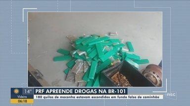 PRF apreende 180 kg de maconha em lataria de caminhonete na BR-101 em Joinville - PRF apreende 180 kg de maconha em lataria de caminhonete na BR-101 em Joinville
