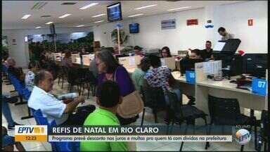 Moradores de Rio Claro podem renegociar dívidas no programa Refis Natal - Quem fizer a adesão vai ter desconto nos juros e multas.