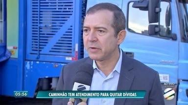 Unidade móvel da Caixa faz renegociação de dívidas no centro de Campo Grande - Renegociação poderá ser feita até o dia 7 de dezembro.