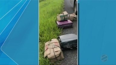 Homem que viajava em ônibus é preso transportando pescado e carne de jacaré dentro de mala - Homem que viajava em ônibus é preso transportando pescado e carne de jacaré dentro de malas.