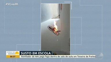 Susto na escola: ventilador pega fogo dentro de sala em Teixeira de Freitas - Os alunos se assustaram com a situação, a escola não se manifestou sofre o assunto.