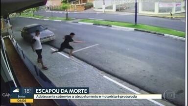 Câmeras flagram imagem forte de atropelamento - Carro desgovernado atingiu adolescente que andava na calçada, mas ele só teve ferimentos leves