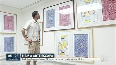Ladrões roubam mais de 50 obras de artista português, na Dutra - As obras estavam sendo transportadas para Belo Horizonte, Minas Gerais. Ladrões roubaram a carga na rodovia Via Duatra. A transportadora registrou o caso em São Paulo, pois a transportadora é do estado.