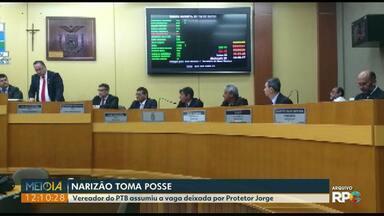Narizão (PTB) toma posse na Câmara de Vereadores de Foz do Iguaçu - Ele assumiu a vaga deixada por Protetor Jorge.