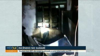 Homem tem 40% do corpo queimado após incêndio em casa - O incêndio começou por volta da 1h da manhã deste sábado (8).
