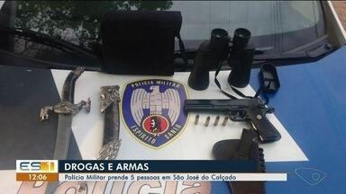 Cinco pessoas são presas em São José do Calçado por tráfico de drogas e posse de arma - Os crimes foram descobertos durante ações de busca e apreensão.