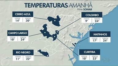 Tempo fica estável no domingo e sol aparece em todo o Paraná - Em Curitiba, a máxima prevista é de 23ºC; no litoral, é de 24ºC.