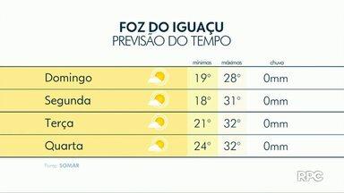 Tempo segue aberto nos próximos dias em Foz do Iguaçu - A máxima será de 32 graus na terça e quarta-feira.