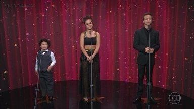 Faustão conversa com os finalistas da categoria 'Ator e Atriz Mirim' - Três atores mirins se destacaram pelos seus talentos na dramaturgia da TV Globo