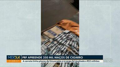 Polícia apreende 350 mil maços de cigarro - A carreta tinha placas de Umuarama e a carga foi avaliada em R$ 2 milhões.