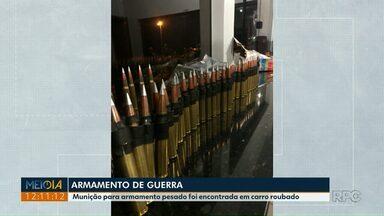 Munições de fuzil foram apreendidas no noroeste do estado - Carga estava em uma caminhonete roubada, que foi abordada por policiais rodoviários na PR-323, na região de Iporã.