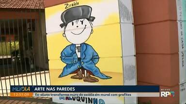 Ex-aluno transforma muro de escola em mural com grafites - Além de deixar o local mais bonito, a grafitagem ajudou a melhor os índices do colégio.