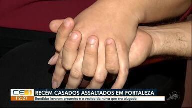 Casal é assaltado um dia depois do casamento. Bandidos levam até o vestido de noiva - Confira outras notícias no g1.globo/ce