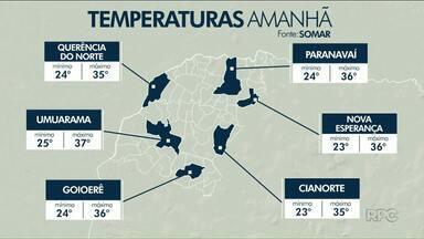 Temperaturas ultrapassam os 35 graus em algumas cidades do noroeste - Em Umuarama, sábado (15) deve registrar 37 graus.