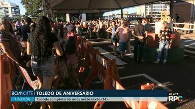 Toledo comemora aniversário com bolo e show de Michel Teló - Cidade comemora 66 anos.
