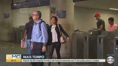 Metrô de Belo Horizonte amplia horário de funcionamento em três estações - Medida garante mais tempo para as compras de natal.