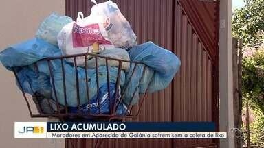 Moradores reclamam de falta de recolhimento de lixo em Aparecida de Goiânia - Segundo eles, lixeiras nas ruas estão lotadas porque caminhão não tem passado nos bairros para recolher dejetos.