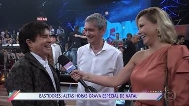 Confira os bastidores do especial de natal do 'Altas Horas' - Mônica Salgado mostra tudo o que rolou na gravação do programa especial com sertanejos
