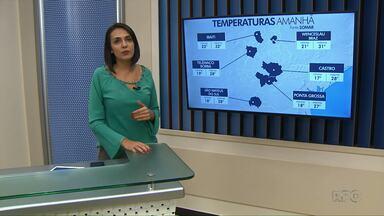 Sábado (22) com condições de chuva no Paraná - Máxima de 27°C em Ponta Grossa amanhã.