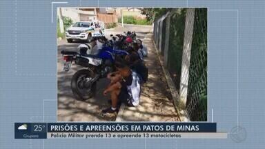 PM faz operação 'Peão Loko' e grupo é detido por direção perigosa em Patos de Minas - Motociclistas marcam encontro pelas redes sociais avisando que iriam aterrorizar a cidade.