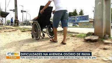 Travessia perigosa. Falta acessibilidade para cadeirantes e idosos na Osório de Paiva - Confira outras notícias no g1.globo/ce