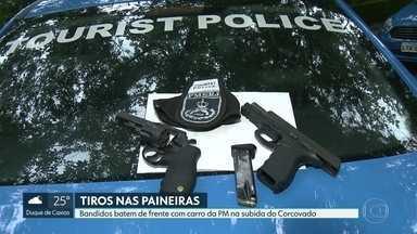 Tiroteio nas Paineiras provoca fechamento de estrada nesta quarta (26) - Bandidos bateram de frente com carro da Polícia Militar na subida do Corcovado.