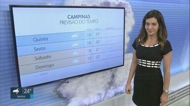 Confira a previsão do tempo para as cidades da região nesta quinta-feira - Campinas (SP) registra máxima de 29ºC.
