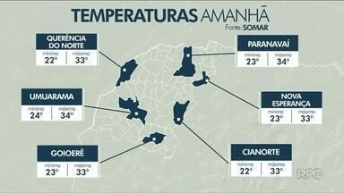 Previsão de chuva rápida e isolada no Noroeste para essa quinta-feira - O sol aparece no fim de semana e a temperatura volta a subir no Noroeste.