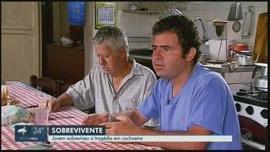 Único sobrevivente em tragédia em cachoeira conta como conseguiu escapar - Eduardo Gomes Morais, de 35 anos, estava em cachoeira atingida por tromba d'água em São João Batista do Glória.