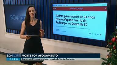 Jovem de 23 anos morre afogado em Santa Catarina - Os bombeiros informaram que ele estava visitando os padrinhos em Fraiburgo.