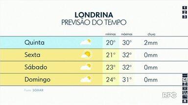 Temperatura atinge 30ºC nesta quinta-feira (27) em Londrina - Próximos dias seguem com temperatura alta.