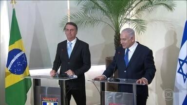 Bolsonaro encontra primeiro-ministro de Israel Benjamin Netanyahu - É a primeira vez que o Brasil recebe a visita de um premiê israelense. Netanyahu veio para a posse do presidente eleito.