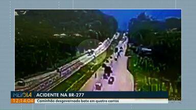 Um morre e dois ficam feridos em acidente na BR-277 - Câmera registra momento da batida
