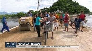 Moradores da Praia da Piedade, em Magé, cobram revitalização da orla - Píer e quiosques na beira da praia estão em péssimas condições