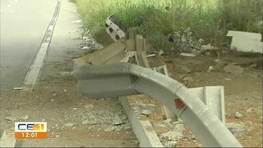 Ataque em Caucaia: Bandidos explodem coluna de viaduto da BR-020 - Confira outras notícias no g1.globo/ce