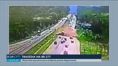 Motorista de caminhão que provocou acidente na BR-277 presta depoimento - Uma pessoa morreu e um bebê está internado em estado grave.