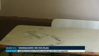 Ladrões invadem e furtam escola em Ponta Grossa por três dias seguidos - Câmeras de segurança registraram a invasão.
