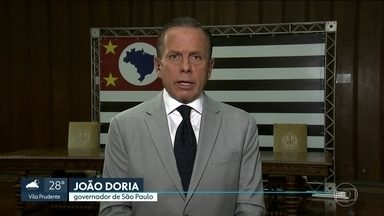 Governador João Doria fala sobre os desafios na área de segurança - Doria disse que presos vão trabalhar nos presídios e que integrantes de facções criminosas vão ser isolados.