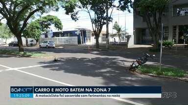 Carro e moto batem em avenida da Zona 7 - Mulher que estava na moto sofreu ferimentos no rosto