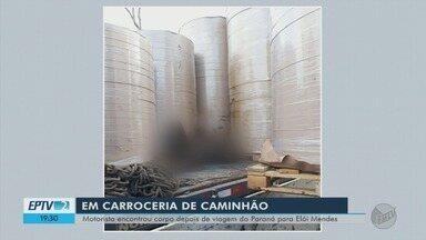Corpo é encontrado em meio a carga de tubos em Elói Mendes (MG) - Corpo é encontrado em meio a carga de tubos em Elói Mendes (MG)