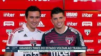 Grandes clubes voltam ao trabalho - Palmeiras, São Paulo e Corinthians se reapresentaram hoje