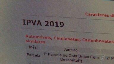 IPVA está 3,34% mais barato neste ano em São Paulo - Quem tem carro ou qualquer outro veículo motorizado pode pagar o IPVA 2019 à vista, agora em janeiro, ou parcelar em até três vezes. Neste ano o valor do imposto em São Paulo sofreu uma redução de 3,34%.