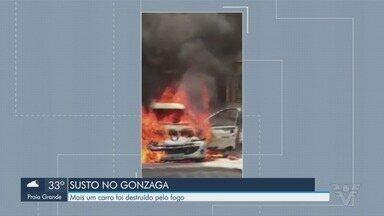 Carro é destruído por incêndio em Santos, SP - Motorista tentou controlar as chamas por meio de extintores.